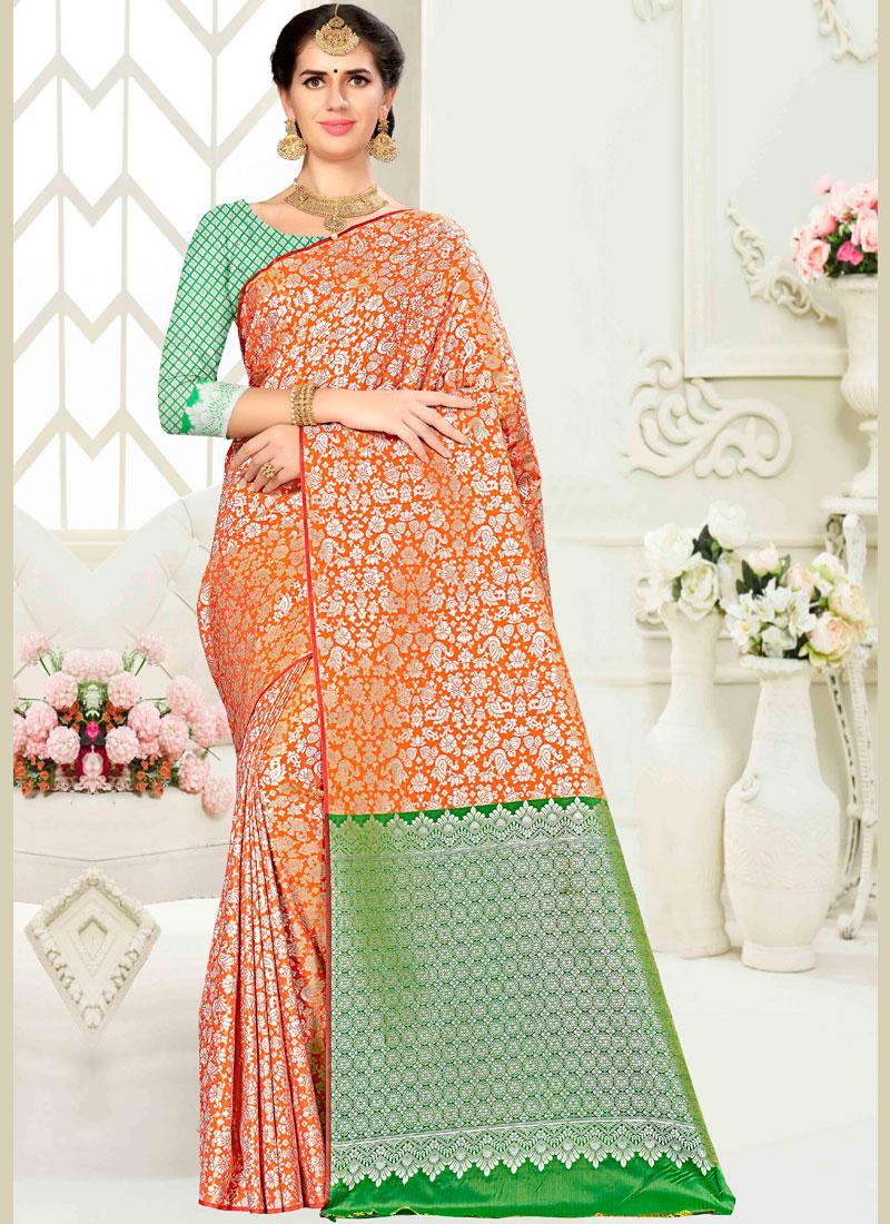 Blooming Weaving Banarasi Silk Traditional Saree