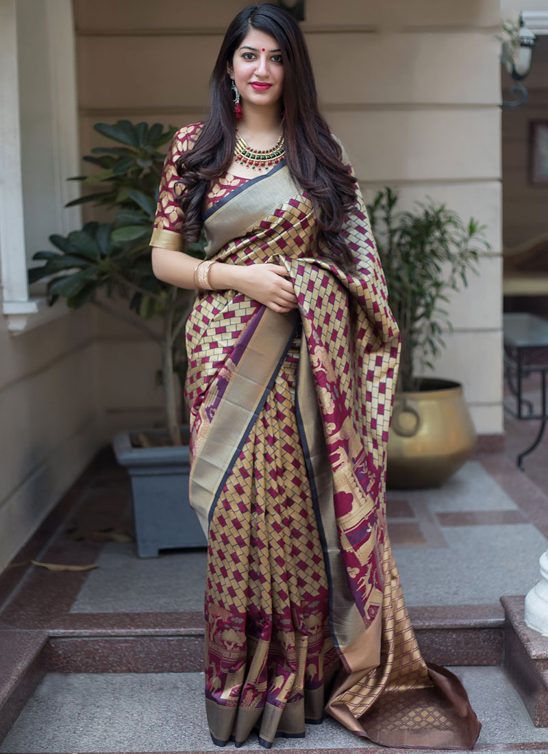 Blooming Weaving Multi Colour Art Silk Traditional Saree