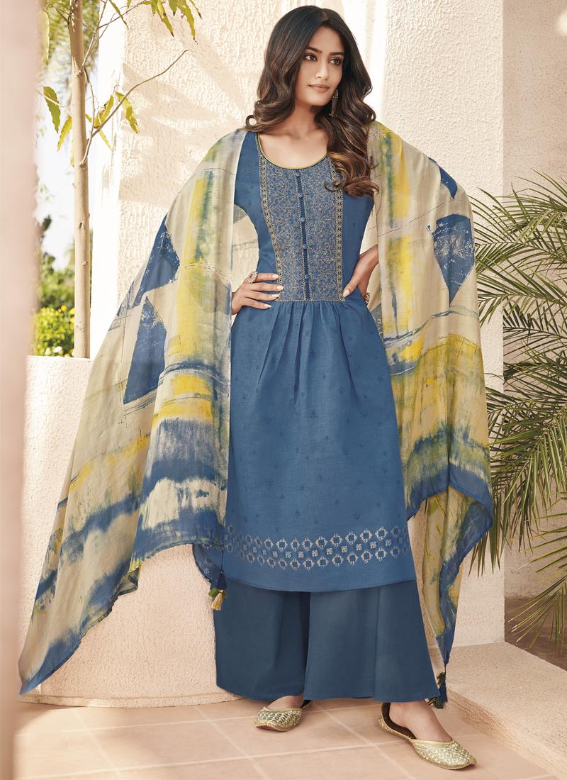 Blue Abstract Print Festival Designer Pakistani Suit
