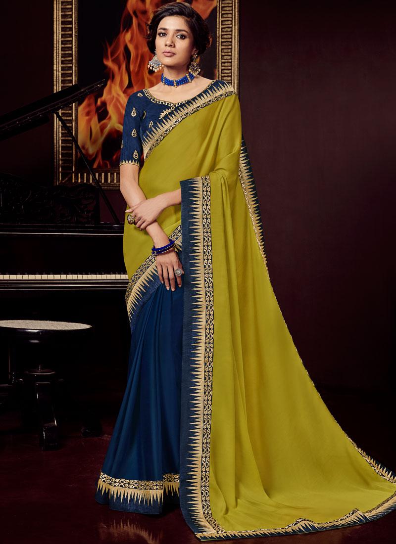 Blue and Green Art Silk Festival Designer Traditional Saree