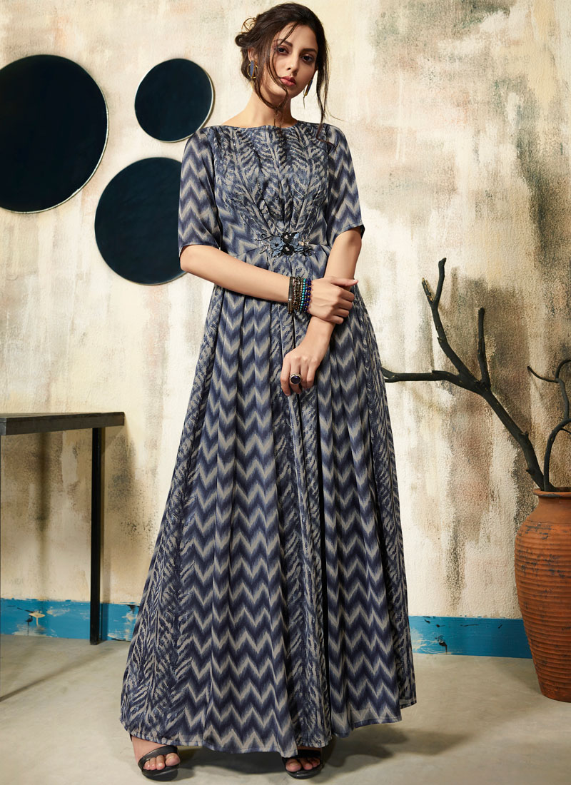 Blue and Grey Casual Kurti