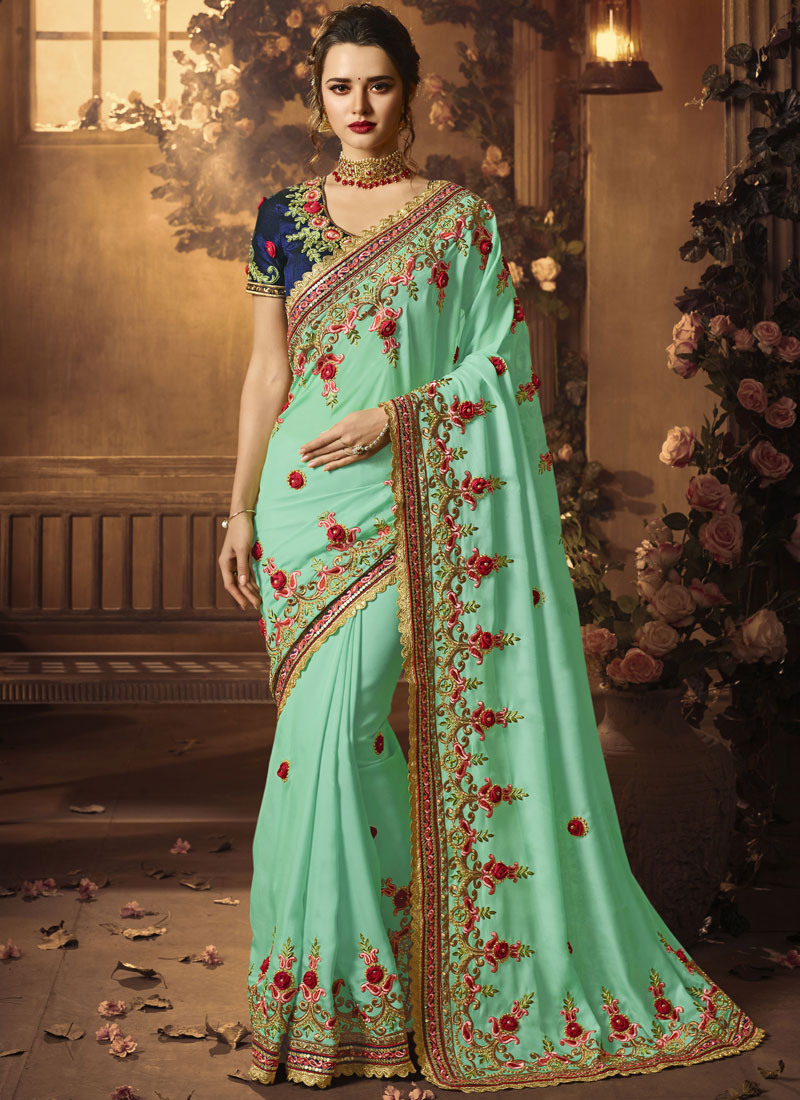 Blue Bridal Traditional Designer Saree