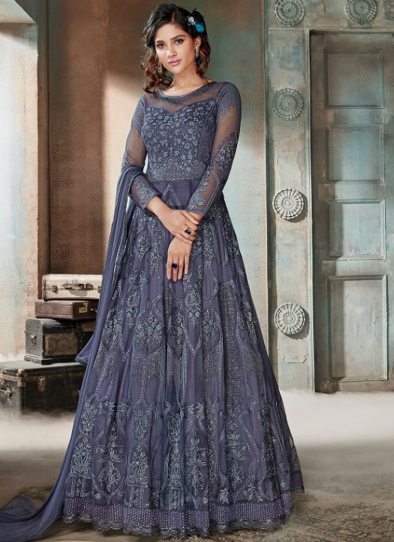 Blue Color Anarkali Salwar Kameez