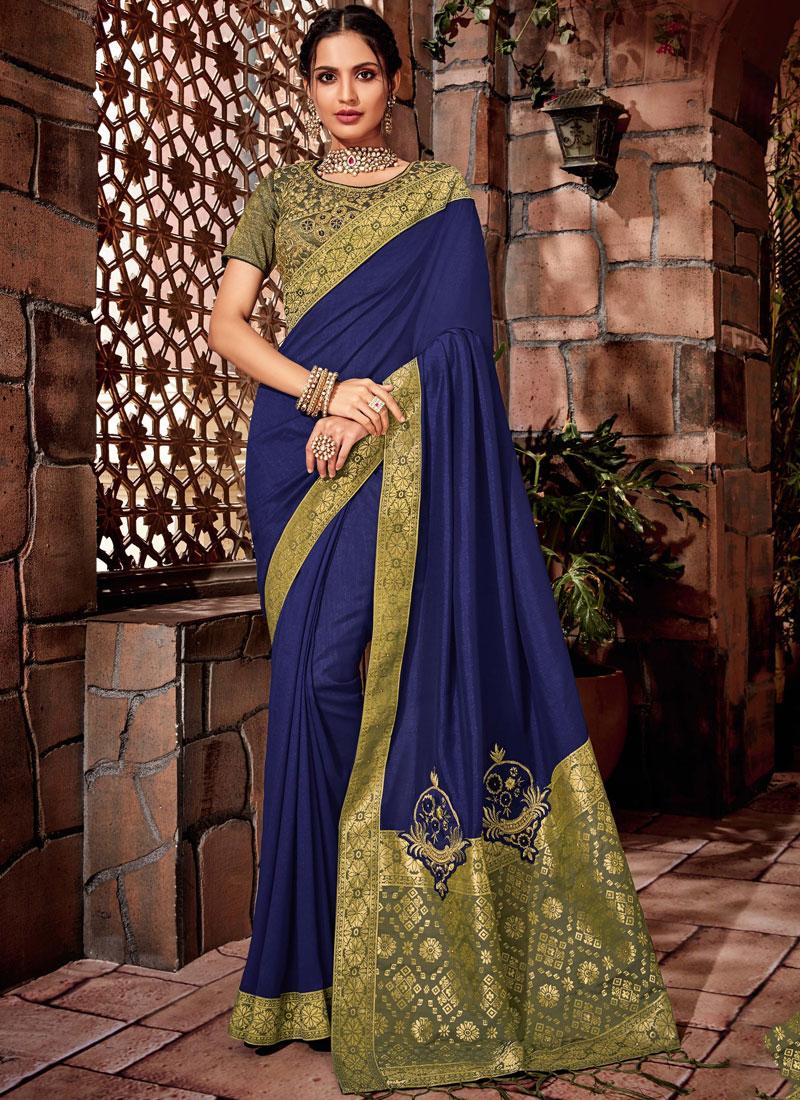 Blue Color Designer Saree