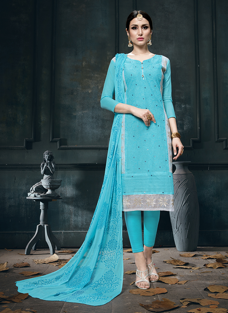 Blue Cotton Fancy Designer Straight Suit