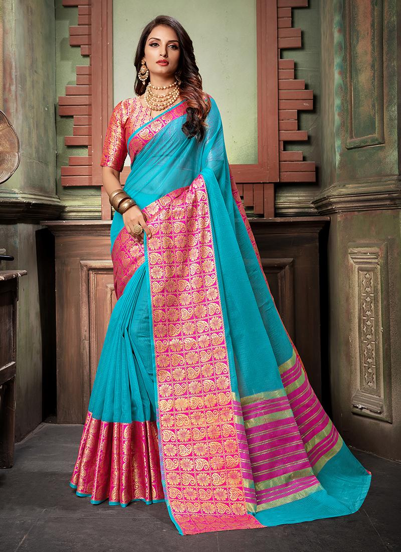 Blue Cotton Silk Weaving Designer Saree