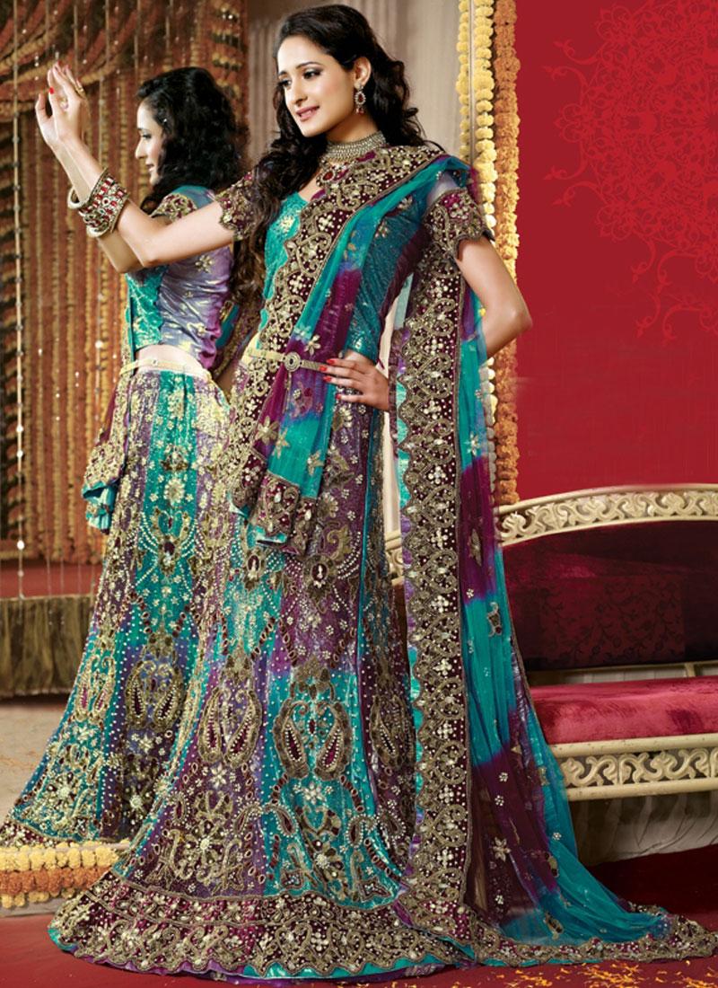 Blue Hand Embroidered Bridal Lehenga Choli
