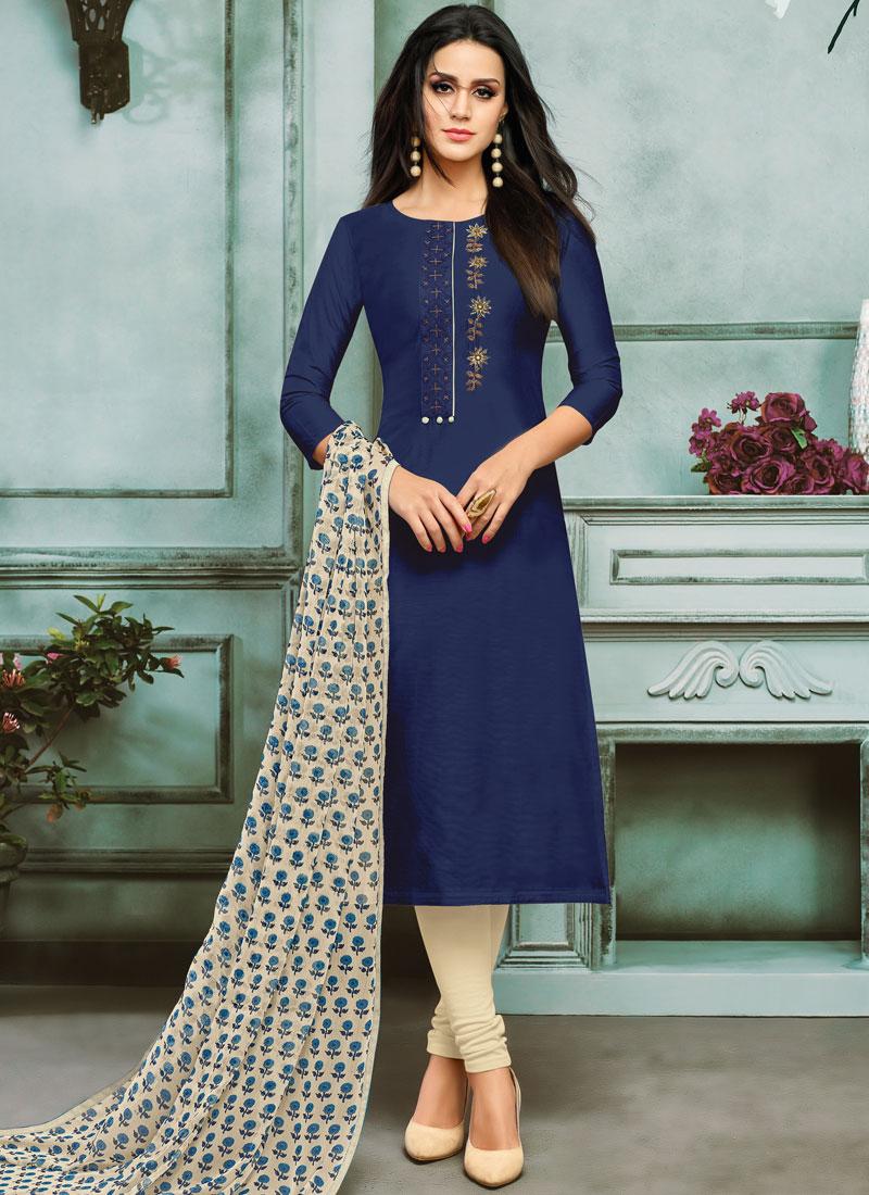 Blue Embroidered Casual Churidar Salwar Kameez