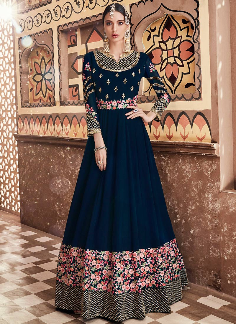 Blue Embroidered Party Floor Length Anarkali Suit