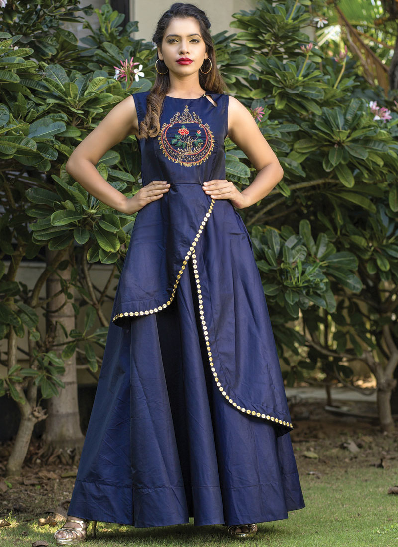 Blue Embroidered Readymade Gown
