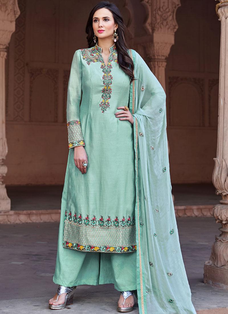Blue Fancy Fabric Embroidered Designer Pakistani Suit