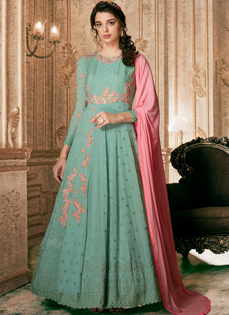 Blue Faux Georgette Zari Floor Length Anarkali Suit