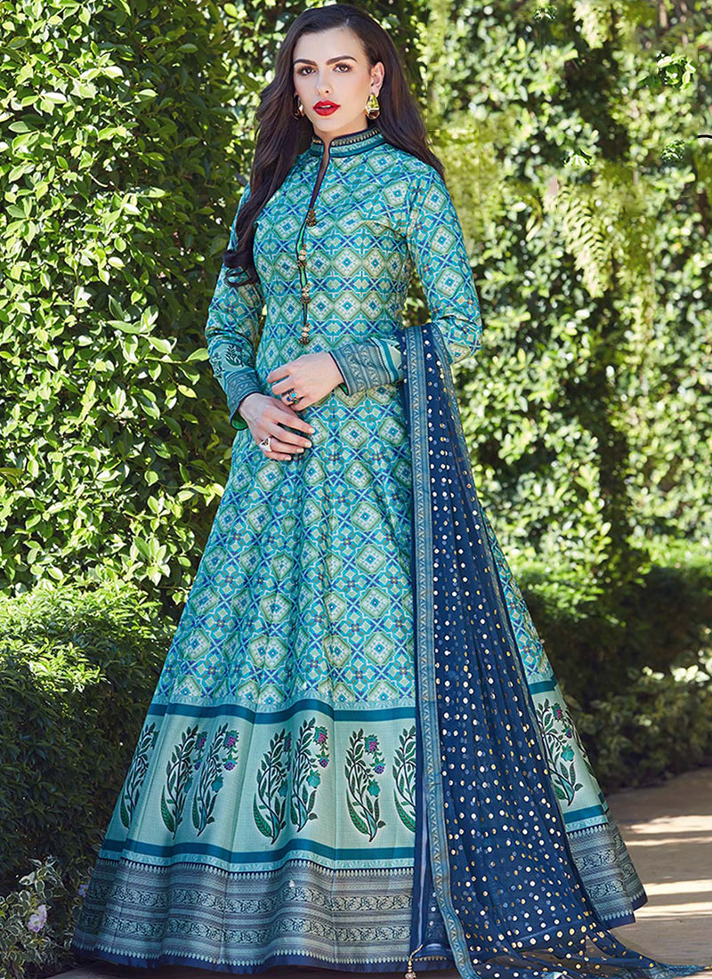 Blue Festival Art Silk Readymade Suit