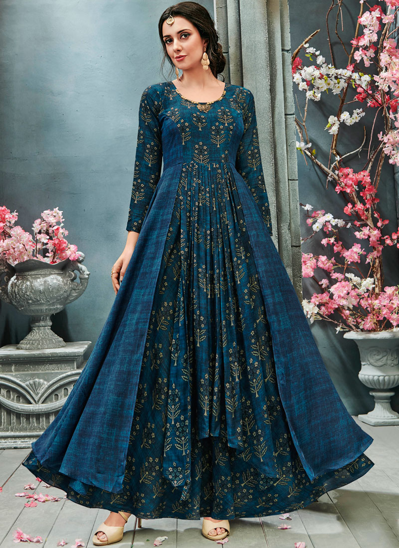 Blue Festival Readymade Gown