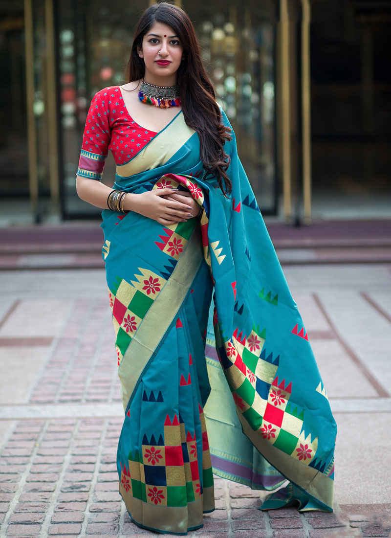 Blue Party Art Silk Traditional Designer Saree