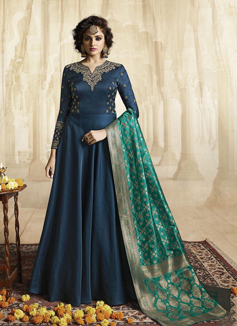 Blue Party Satin Readymade Gown
