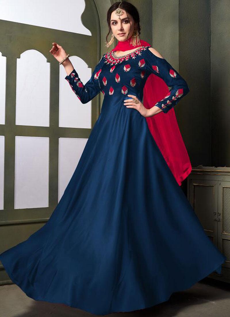 Blue Party Tafeta Silk Trendy Gown