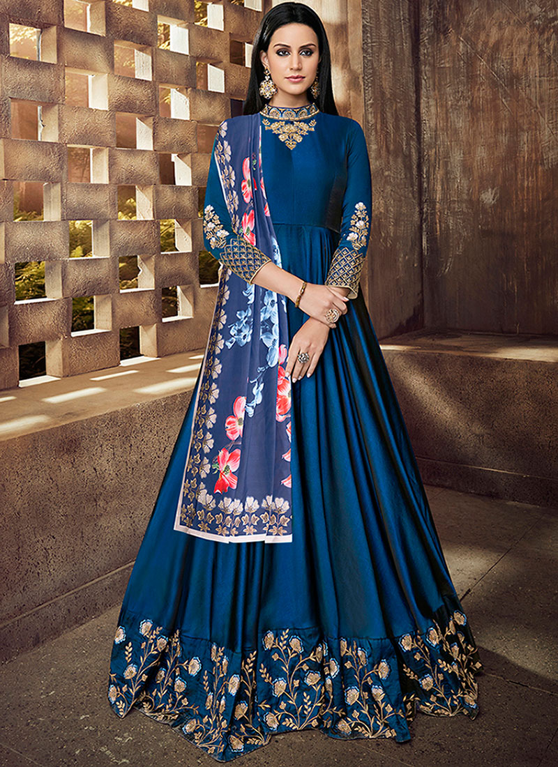 Blue Wedding Tafeta Silk Readymade Anarkali Suit