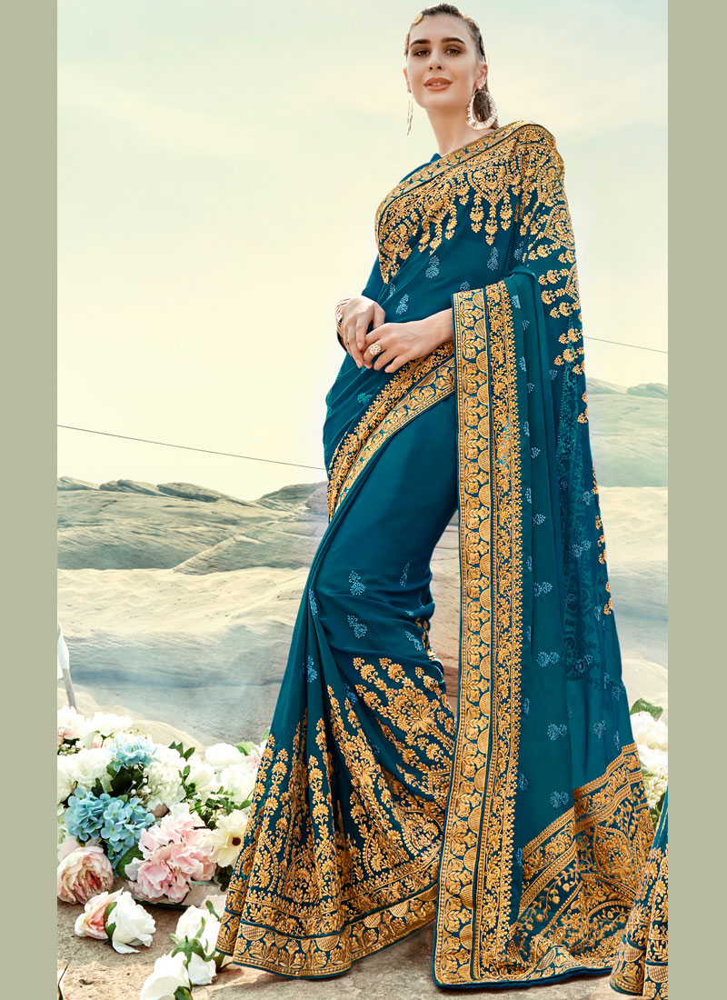 Border Faux Georgette Classic Saree in Teal