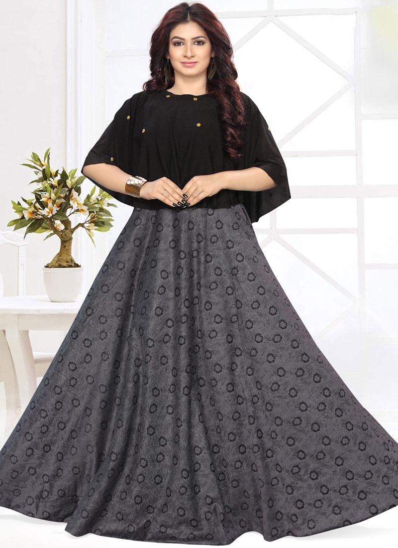 Breathtaking Fancy Fabric Black Fancy Floor Length Gown