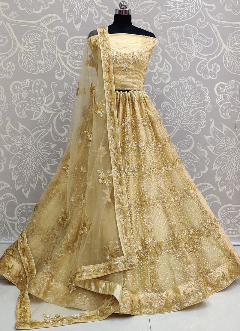 Breathtaking Golden Colour Exceptionally Embroidered - Double Sequence Work Lehenga Choli