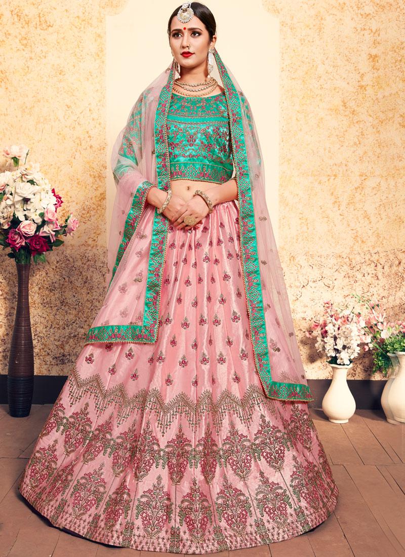 Breathtaking Stone Satin Pink Designer Lehenga Choli