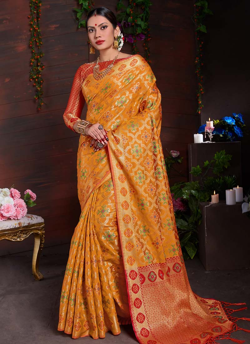 e372f068ed Breathtaking Yellow Traditional Saree. Hover to zoom