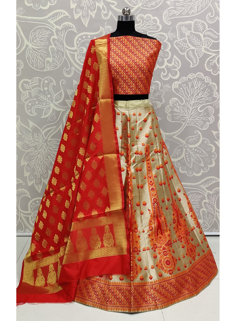 Bridal Forward Orange Banarasi Silk Wedding Wear Lehenga Choli