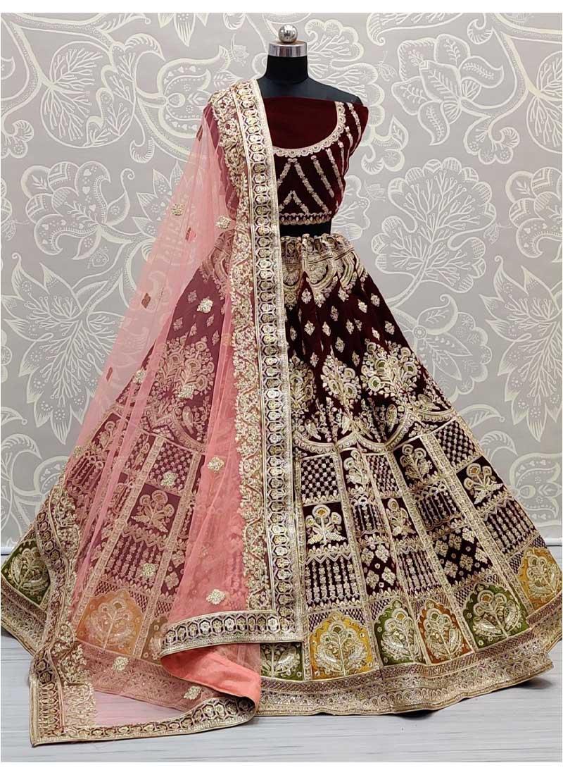 Bridal Lehenga Choli In Velvet Crafted In Various Types Of Work In Maroon