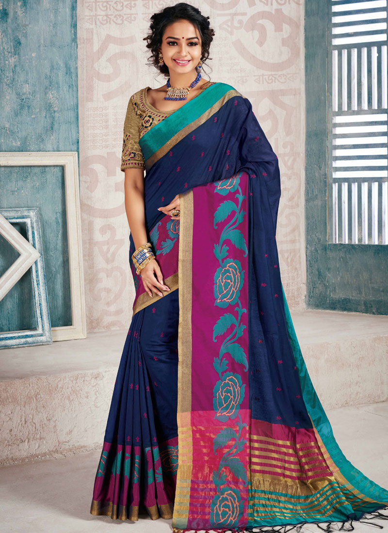 Brilliant Embroidered Navy Blue Cotton Silk Traditional Designer Saree
