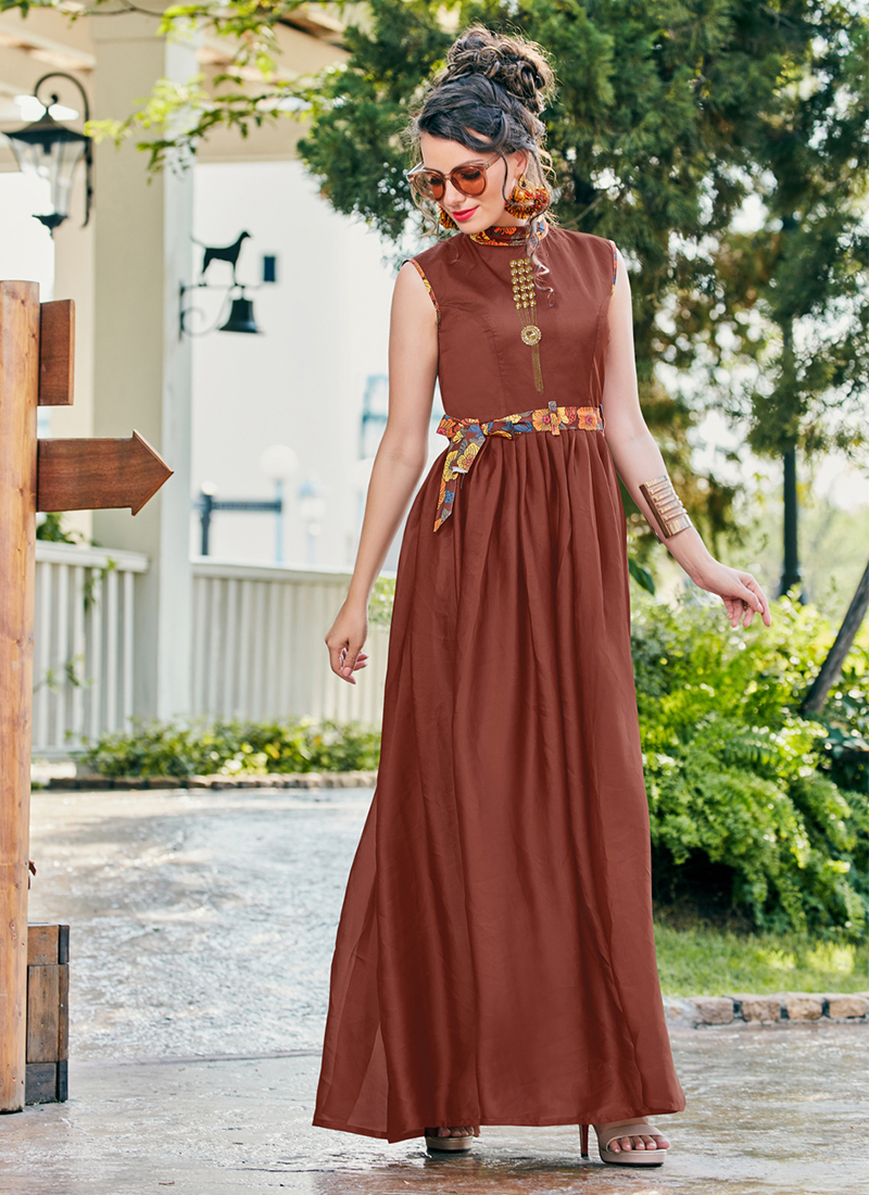 Brown Crepe Silk Fancy Readymade Gown