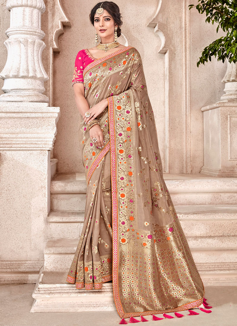 Brown Traditional Designer Saree