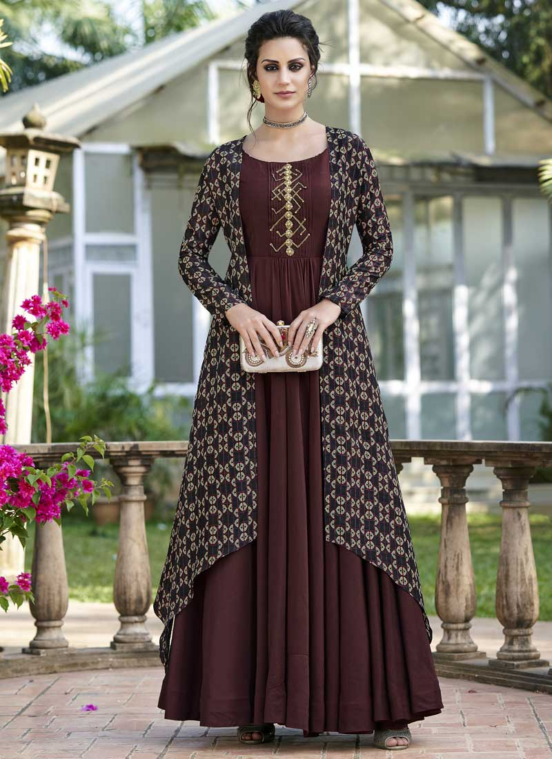 Brown Tussar Silk Festival Designer Gown
