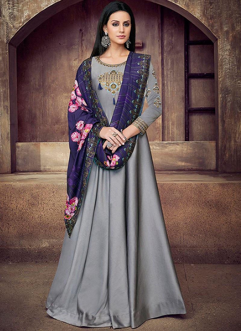 Capricious Grey Tafeta Silk Readymade Anarkali Suit