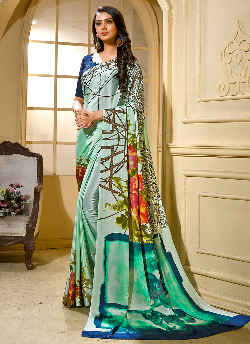Capricious Printed Green Faux Crepe Trendy Saree