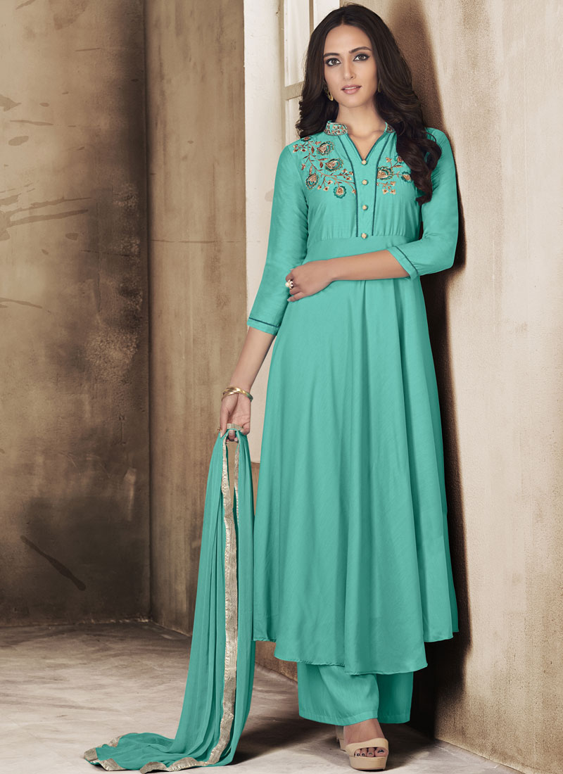 Captivating Embroidered Muslin Palazzo Designer Salwar Kameez