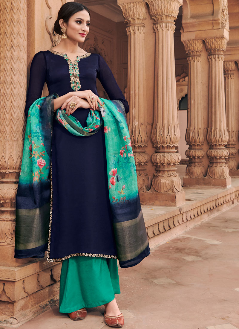 1a7bcb1834 Captivating Embroidered Satin Blue Designer Palazzo Suit. Hover to zoom
