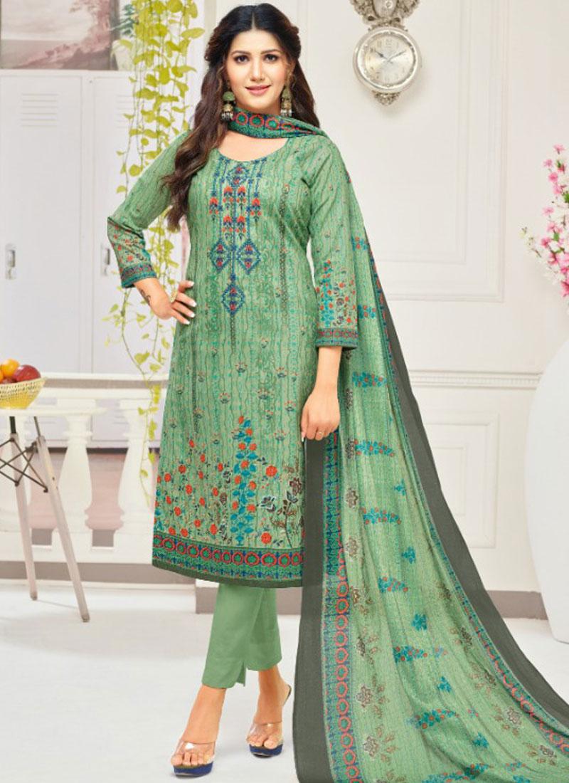 Captivating Green Print Cotton Churidar Suit