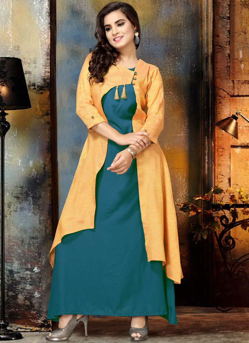 Catchy Teal Cotton Party Wear Kurti