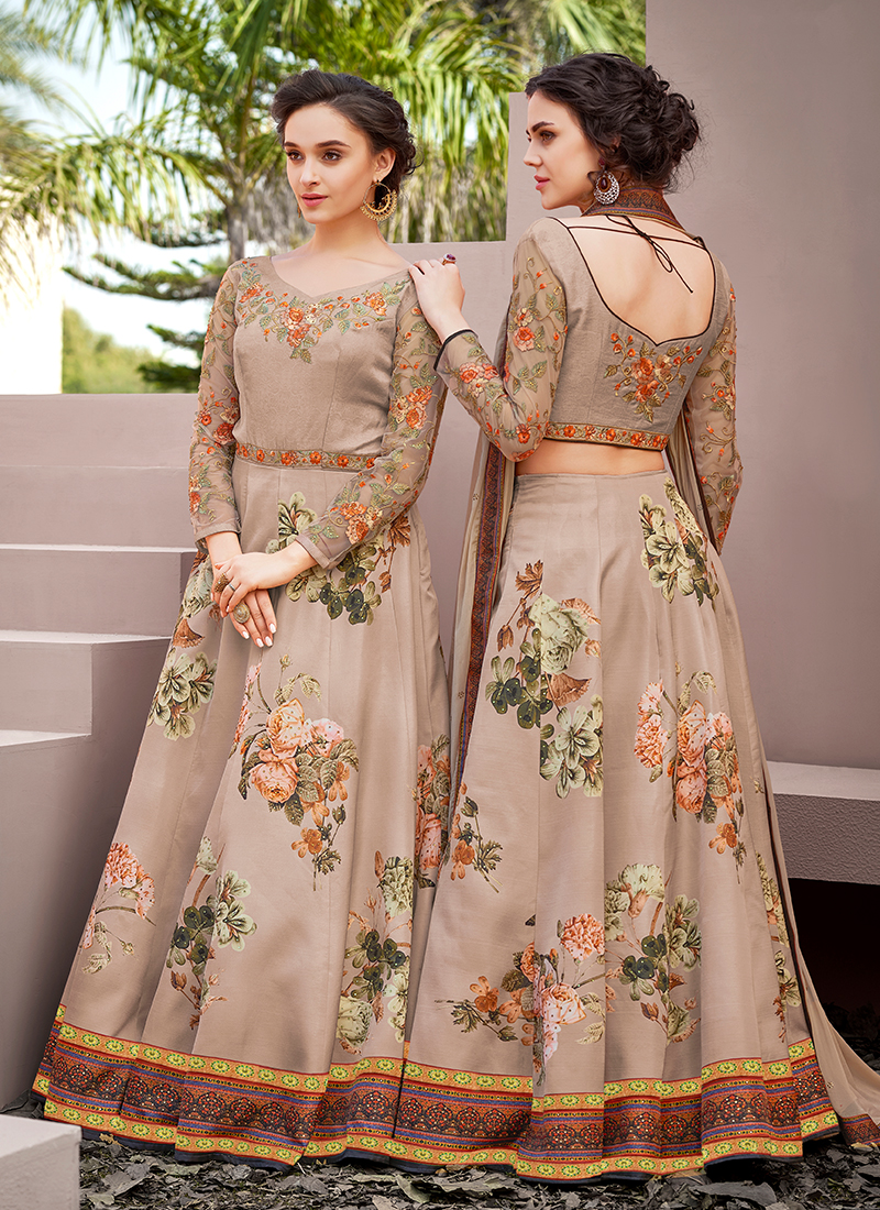 Celestial Beige Satin Silk Designer Gown