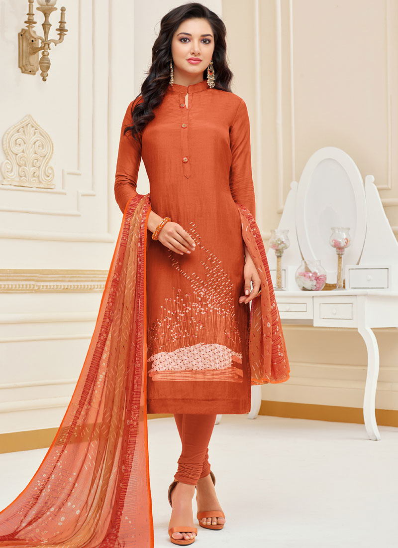 Chanderi Cotton Embroidered Churidar Suit in Orange