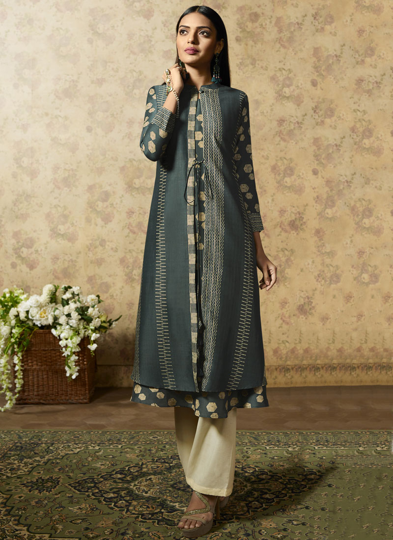 Chic Muslin Print Party Wear Kurti