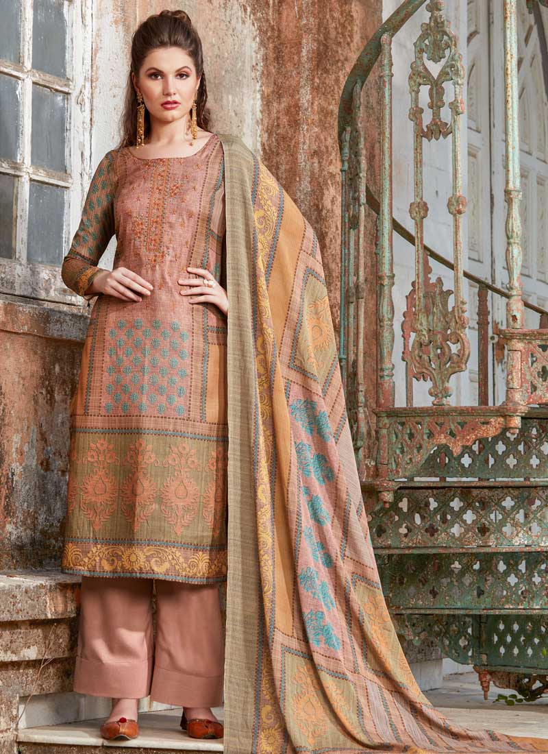 0c792a1aba Chic Peach Embroidered Tussar Silk Designer Palazzo Suit. Hover to zoom