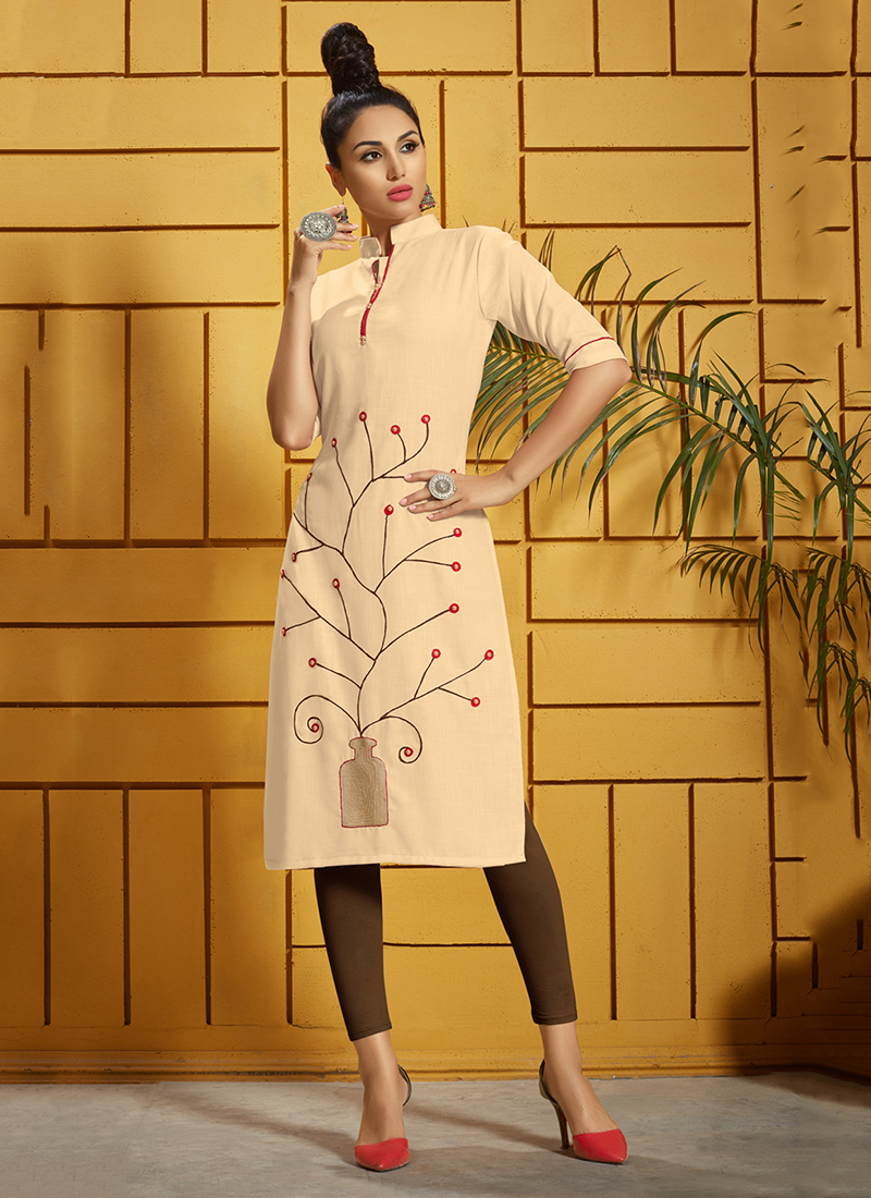 Chic Thread Work Cream Casual Kurti