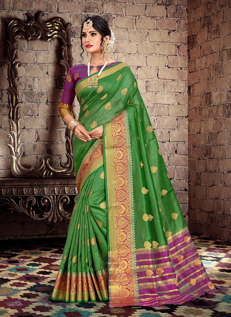 Classical Cotton Silk Weaving Green Designer Traditional Saree