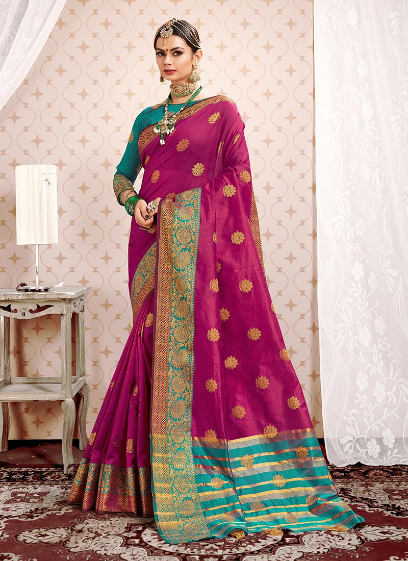 Classy Weaving Art Silk Magenta Designer Traditional Saree