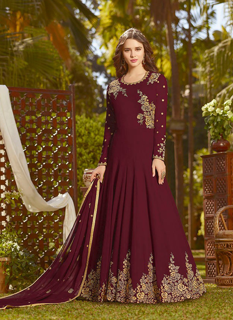 Compelling Embroidered Maroon Georgette Designer Salwar Suit