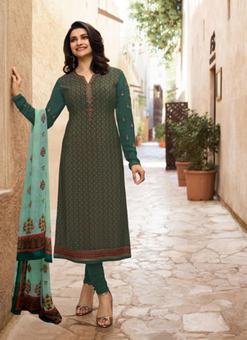 Compelling Prachi Desai Green Faux Georgette Churidar Designer Suit