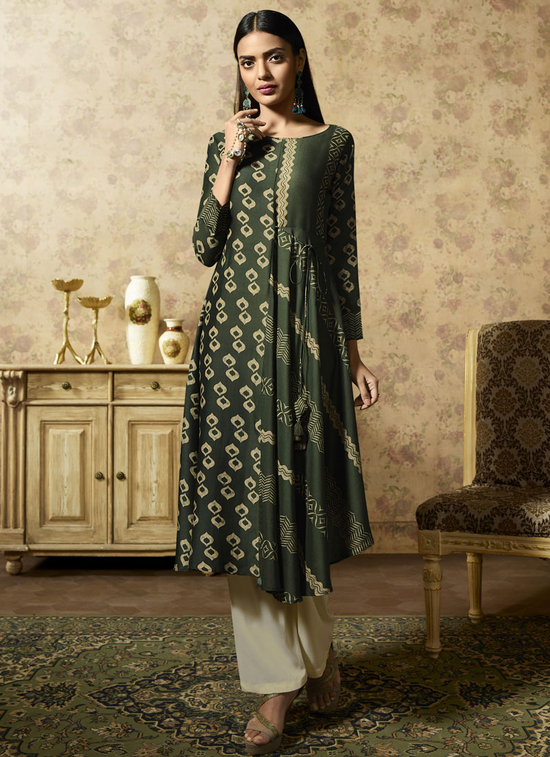 Congenial Print Muslin Green Party Wear Kurti