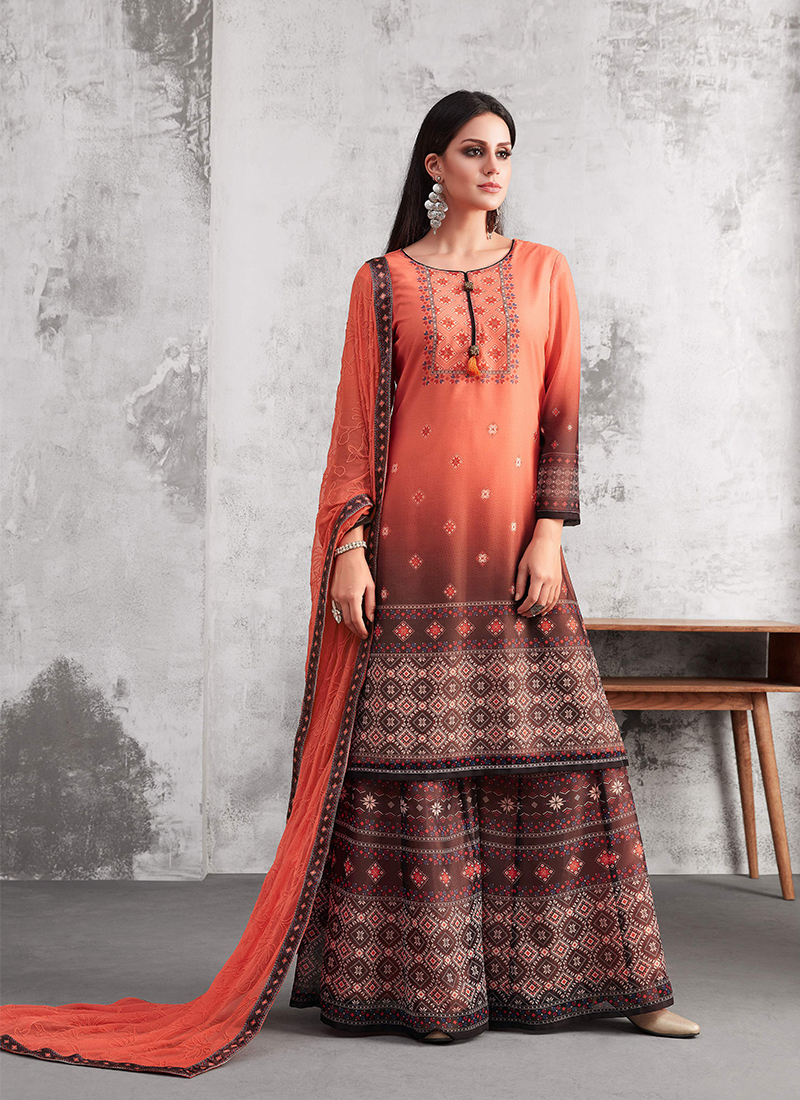 f3c2cf745b Conspicuous Thread Work Designer Palazzo Suit. Hover to zoom